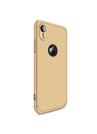 Microsonic iPhone XR (6.1'') Kılıf Double Dip 360 Protective  Altın